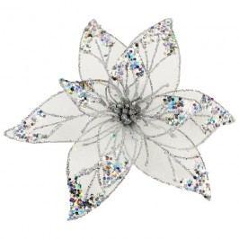 Dekor. květ 25cm, stříbrný