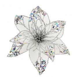 Dekor. květ 20cm, stříbrný