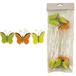 Zápich motýl, 6ks D1034