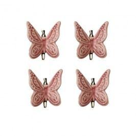 Motýl růžový, 4ks X1299-05