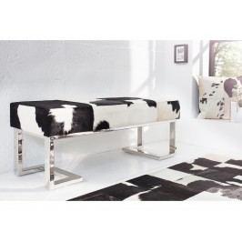 Výprodej Lavice Animal 110cm černo-bílá hovězina