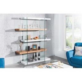 INV Knihovna NOTE 180cm bílá/sklo/dub