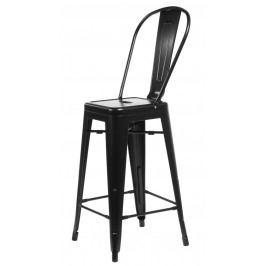 Barová židle s opěradlem Paris Back černá