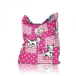 Sedací polštář růžový KOČKY polyester BRUNO