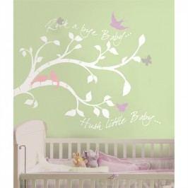 RoomMates Samolepky na zeď - dekorace Větev stromu, motýli a ptáci