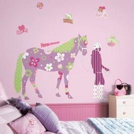 Obrázky koní - Samolepky Květinový kůň