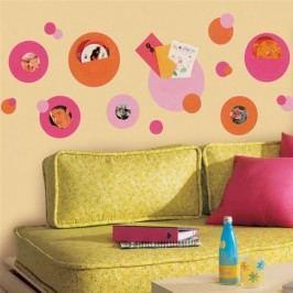 Samolepící rámečky Kolečka a kroužky oranžovo-růžové