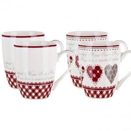 BANQUET Hrnek keramický KAREN 340 ml, mix dekorů, 4 ks