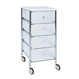 Regál se 4 zásuvkami Julda, 73 cm, bílá / stříbrná