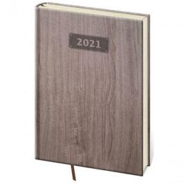 Diář 2021 týdenní A5 Wood - tmavě hnědá