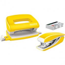 Leitz WOW sešívačka + děrovačka, metalická žlutá