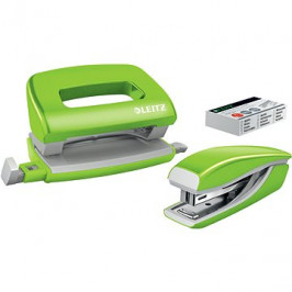 Leitz WOW sešívačka + děrovačka, metalická zelená