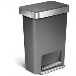 Simplehuman 45 l, pedálový, obdélníkový, šedý plast / nerez