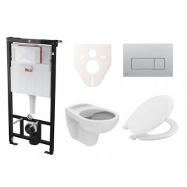 Závěsný set WC S-Line PRO rimless, nádržka Alcaplast Sádromodul, tlačítko chrom mat SIKOASP9