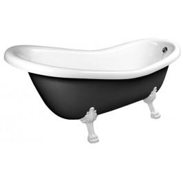 Volně stojící vana Polysan RETRO 158x73 cm akrylát levá i pravá černá/nohy bílé 72971