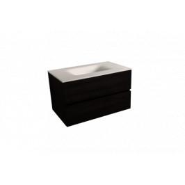 Koupelnová skříňka s umyvadlem bílá mat Naturel Verona 86x51,2x52,5 cm tmavé dřevo VERONA86BMTD