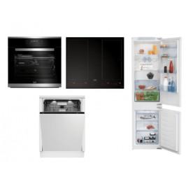 Set spotřebičů Beko, trouba BIMM25400XMS + deska HII64801F2HT + myčka DIN48532+ lednice BCHA275E4SN