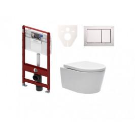 Závěsný set WC SAT Brevis, nádržka TECE, tlačítko CR mat SIKOTS3W3