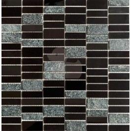 Premium Mosaic Stone Mozaika nerez černá s kamenem 4,8x1,5 cm MOS4815BK