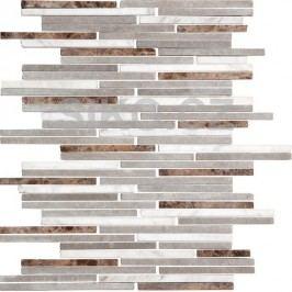 Premium Mosaic Stone Kamenná moz.bílo-šedo-hnědé cihly 0,7/14 STMOS7140MIX1