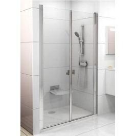 Sprchové dveře Ravak Chrome dvoukřídlé 100 cm, čiré sklo, bílý profil 0QVAC10LZ1