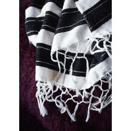 MADAM STOLTZ Přehoz Black and White 130x170, černá barva, bílá barva, textil