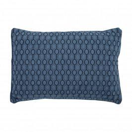 Bloomingville Polštář Blue Wowen Circles, modrá barva, textil