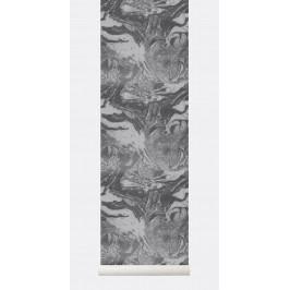 ferm LIVING Tapeta Marbling - Charcoal, šedá barva, papír