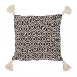 Bloomingville Polštář Cotton Brown Fringes, hnědá barva, přírodní barva, textil