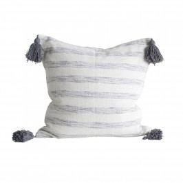 Bloomingville Polštář Chateau Rayure, modrá barva, šedá barva, bílá barva, textil