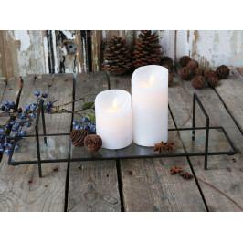 Chic Antique Skleněný tácek na svíčky Antique Coal, černá barva, čirá barva, sklo, kov