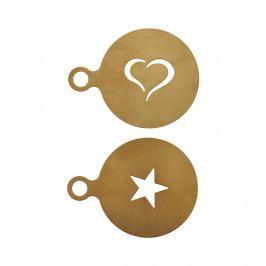 Nicolas Vahé Šablona na zdobení kávy a dortů Gold - set 2 ks, zlatá barva, kov