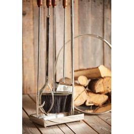 CÔTÉ TABLE Krbové nářadí - Coffre à la Maison - 79 cm, hnědá barva, stříbrná barva, dřevo, kov