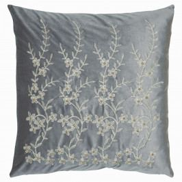 GREEN GATE Povlak na polštář Grey Flower Velur 50x50, šedá barva, textil