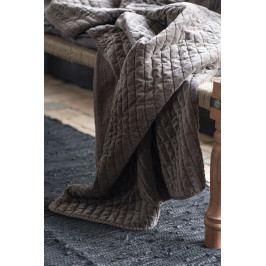 IB LAURSEN Sametový přehoz Soil 130x180 cm, šedá barva, textil