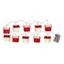 STAR TRADING Světelný LED řetěz s domečky Datja, červená barva, bílá barva, dřevotříska