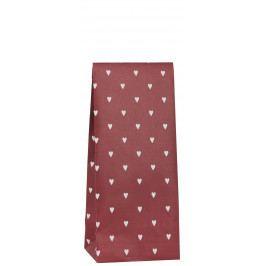 IB LAURSEN Papírový sáček Hearts Red 22,5cm, červená barva, bílá barva, papír