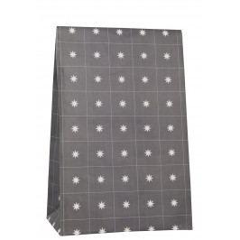 IB LAURSEN Papírový sáček Stars Anthracite 28,8cm, šedá barva, bílá barva, papír