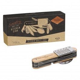 GENTLEMEN'S HARDWARE Multifunkční kuchyňský nástroj 12v1, hnědá barva, stříbrná barva, přírodní barva, dřevo, kov