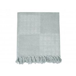 Chic Antique Bavlněný přehoz Fringes 130x180cm, modrá barva, šedá barva, textil