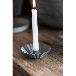 IB LAURSEN Svícen pro úzkou svíčku Zinc Wavy Edge, šedá barva, zinek