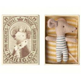 Maileg Myší miminko v krabičce Baby mouse, modrá barva, textil