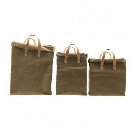 House Doctor Úložná taška Army Větší, zelená barva, papír