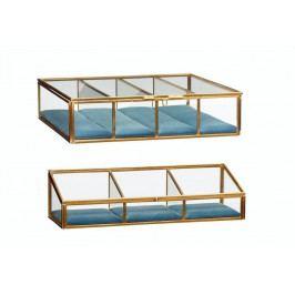 Hübsch Skleněný box s přihrádkami brass glass Větší, modrá barva, zlatá barva, kov