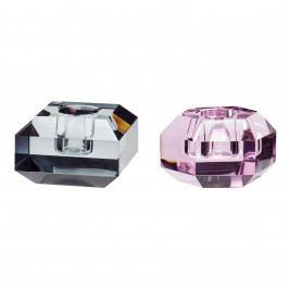 Hübsch Skeněný svícen pink/smoke Růžový, růžová barva, černá barva, sklo