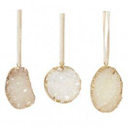 Hübsch Vánoční ozdoby Stone White - set 3 ks, bílá barva, zlatá barva, krémová barva, kámen