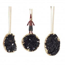 Hübsch Vánoční ozdoby Stone Black - set 3 ks, černá barva, zlatá barva, kámen