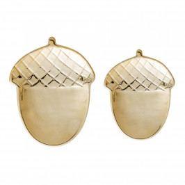 Bloomingville Porcelánové tácky Golden Acorn set 2 ks, zlatá barva, porcelán