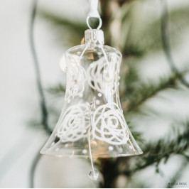 GLASSOR Vánoční ozdoba Rose Clear - zvoneček, bílá barva, čirá barva, sklo