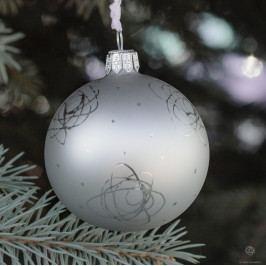 GLASSOR Vánoční baňka Rose Matt grey - 8 cm, šedá barva, stříbrná barva, sklo